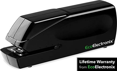 EX-25 Automatic Heavy Duty Electric Stapler - Includes Staples - AC Power Cable + Extended Warranty by EcoElectronix - Jam-Free 25 Sheet Full-Strip Staple Capacity - For Professional and Home Office Use