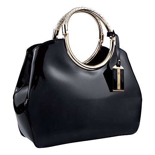 ng Bags Patent Leather Glossy Handbag Clutches Purses Shoulder Bag for Wedding Prom Party Black ()