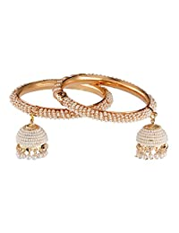 Efulgenz Fashion Jewelry Indian Bollywood 14 K Gold Plated Faux Pearl Bracelets Bangle Set with Tassels for Women (2 Pieces)