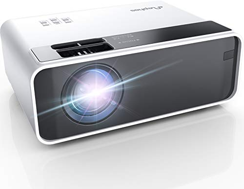 Mini Projector, ELEPHAS Phone Projector 5500 Lumens with 50,000 hrs Long Life LED Portable Home Cinema Projector 1080P Supported, Compatible with PS4, PC via HDMI, VGA, TF, AV, and USB Black (White)
