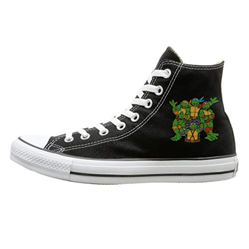 (Aiguan Ninja Turtle Canvas Shoes High Top Casual Black Sneakers Unisex Style)