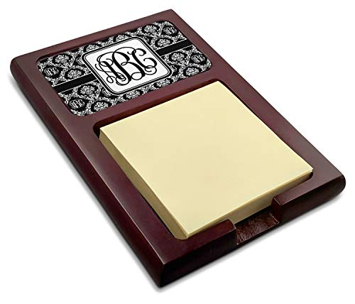 Monogrammed Damask Red Mahogany Sticky Note Holder ()
