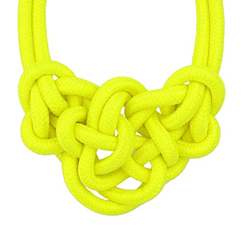 Knitted Rope Nylon Neon Necklace Love Knoted Collar Choker Necklaces For Women Fashion Cheap Jewelry New Design ()