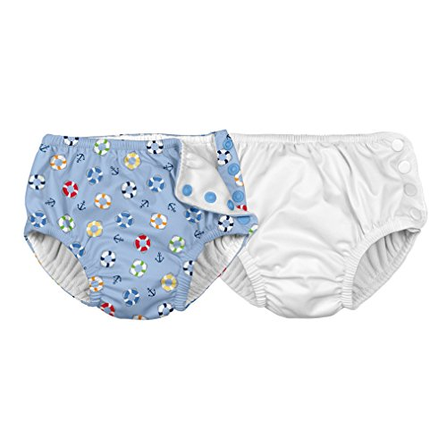 i play. Baby Toddler Reusable Absorbent Swim Diapers 2 Pack, White/Light Blue Lifesaver, 4T from i play.