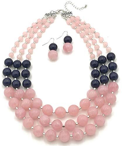 (Shineland Elegant 3-Row Layered Handmade Acrylic Glass Pearl Stone-simulated Beaded Necklace Earrings Set (Style # 2(pink)))
