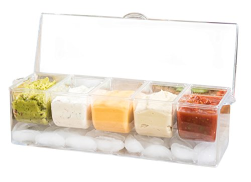 Cold Dip Server (Adorn Home Ice Chilled Large Condiment Server | 5 Compartment on Ice Caddy | 5 Removable Dishes with over 2 Cup Capacity Each with Hinged Lid | Crystal Clear Plasic)