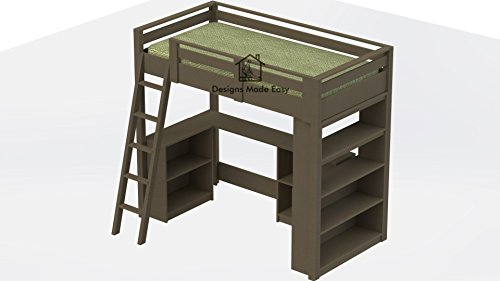 (Easy DIY Kids Twin Loft Bed with Desk and Bookcases - Design Plans)