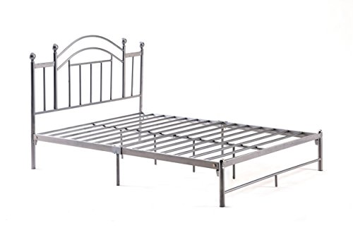 Hodedah Complete Platform Queen-Size Bed with Headboard, Slats and Rails in Silver