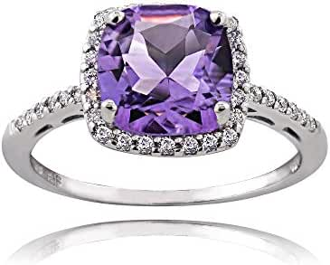 Sterling Silver Amethyst and Cubic Zirconia Cushion-Cut Halo Ring