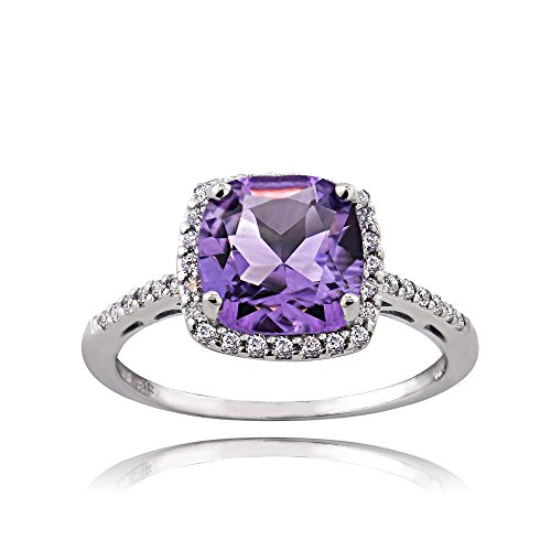 Ice Gems Sterling Silver Amethyst and Cubic Zirconia Cushion-Cut Halo Ring, Size 6 ()