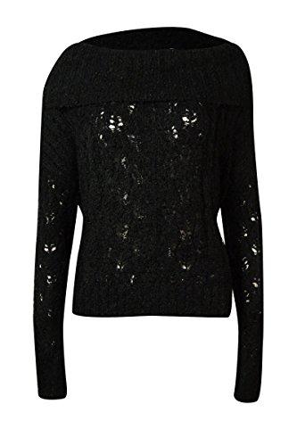 Sanctuary Womens Boucle Open Stitch Pullover Sweater Black L