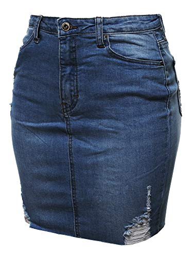 Awesome21 Casual High-Rise Washed Denim Mini Skirt Dark Blue S ()
