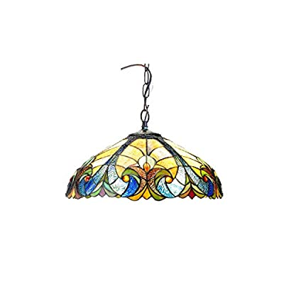 "Chloe Lighting CH18780VA18-DH2 Liaison Tiffany-Style Victorian 2-Light Ceiling Pendant Fixture with 18"" Shade"