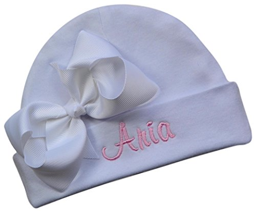 Personalized Embroidered Baby Girl Hat with Grosgrain Bow with Custom Name (White Hat/White Bow/Pink Thread)