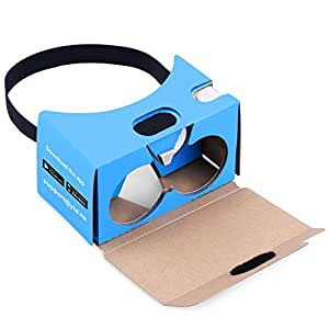 QPAU Google Cardboard 3D Virtual Reality Glasses DIY Kit Compatible with Android & Apple 45mm Lenses HD Visual Experience Includes QR Codes - Blue