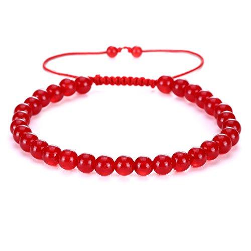 Pendant Jade Jewelry Red - BRCbeads Gemstone Bracelets Red Jade Enhance Color Natural Gemstone Birthstone Healing Power Crystal Beads Handmade 6mm Stretch Macrame Adjustable Loose Beads With Gift Box Unisex