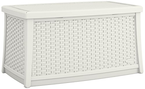 Suncast Elements Coffee Table with Storage - All-Weather, Lightweight, Resin Constructed Patio Table for Storage of Patio Accessories - Outdoor Storage Box with 30 Gallon Capacity - White