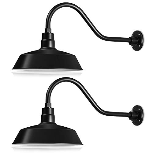 Gooseneck Fixture - 14in. Satin Black Outdoor Gooseneck Barn Light Fixture With 22in. Long Extension Arm - Wall Sconce Farmhouse, Antique Style - UL Listed - 9W 900lm A19 LED Bulb (5000K Cool White) - 2-Pack