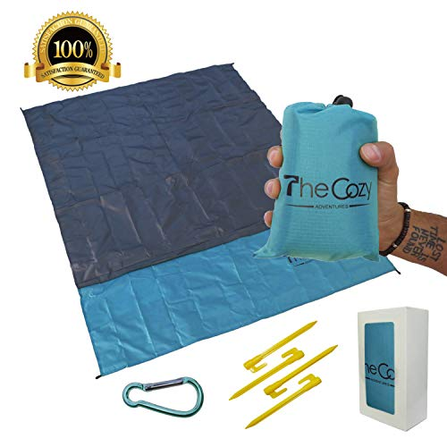 Sand Free Compact Beach Blanket – Pocket Picnic Sheet For Outdoor Multiple Use Best Mat For Travel Festivals, Soft Quick Drying With 4 Portable Tent Pegs and a Unique Gift Box