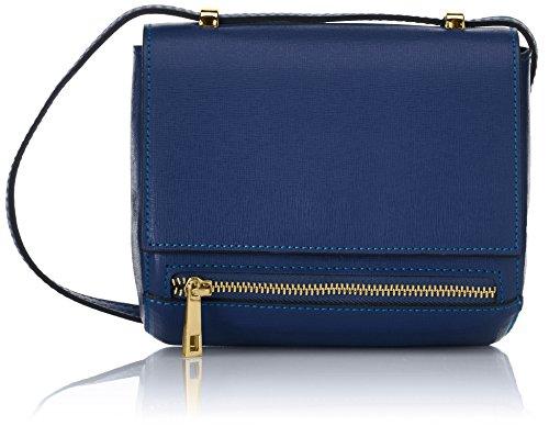 CTM Bandolera para mujer pequena modelo Saffiano de piel genuina hecha en Italia - 18x17x10 Cm Azul (Bluette)