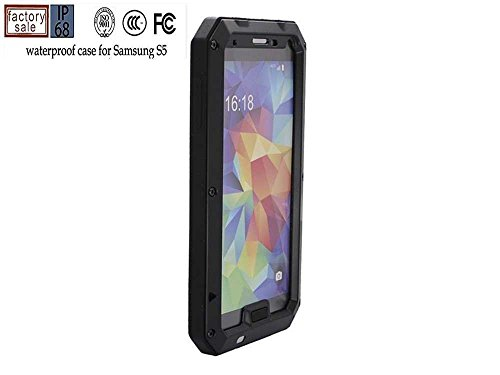 3C-Aone Waterproof Cover Case for Samsung Galaxy S5 Sv, Extreme Luxury Waterproof/shockproof/dustproof Aluminum Metal Corning Gorilla Glass Heavy Duty Protection Hard Cover Skin Case for Samsung Galaxy Samsung Galaxy S5