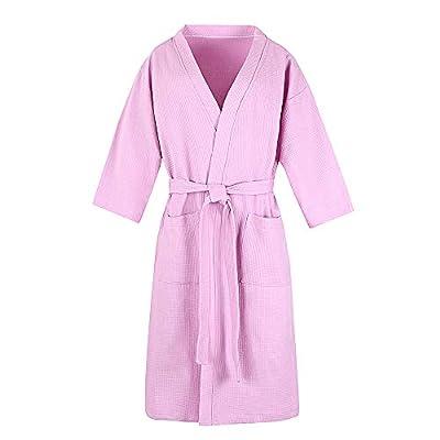 100% Organic Cotton Unisex Hotel Spa Waffle Kimono Bathrobe - (XXL,4XL,Pink,White,Blue)