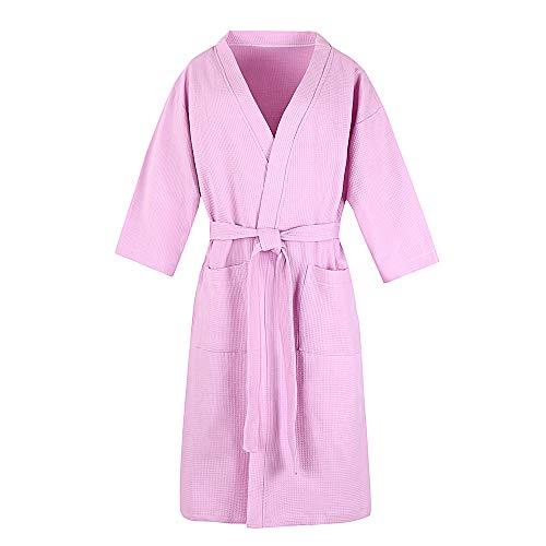 - Cotton Waffle Bathrobe Unisex Wrap Kimono Soft Hotel Spa Shower Apparel Sleepwear Short Lightweight Bath Robe Short Pink