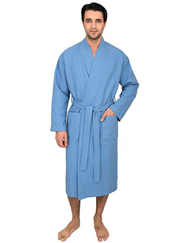 TowelSelections Men's Waffle Bathrobe Kimono Spa Robe Large/X-Large Silver Lake (Chenille Waffle)