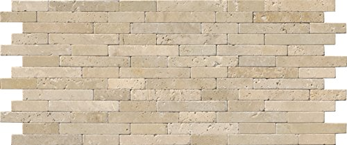 M S International Tuscany Beige Veneer 8 In. X 18 In. X 10 mm Tumbled Travertine Mesh-Mounted Mosaic Tile, (10 sq. ft., 10 pieces per case) by MS International