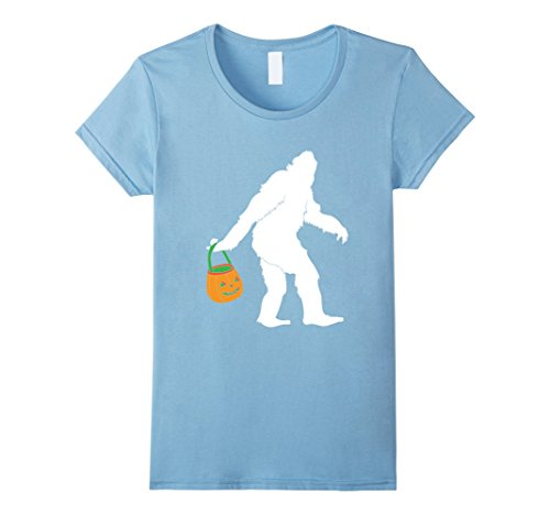[Womens Big Foot Halloween Costume Shirt for Funny Trick or Treating Medium Baby Blue] (Baby Sasquatch Costume)
