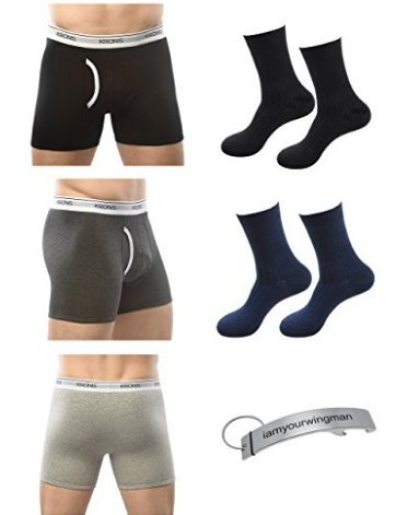 (KRONIS Mens Underwear Combo 3Pk Boxer Brief Premium 180GSM Cotton + 2 Pair Socks)