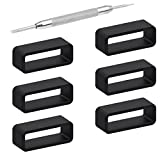 6Pieces Rubber Watch Band Strap Loops Black Silicone Replacement Resin Watch Bands Keeper Holder Retainer Size 22mm with Spring Bar Tools