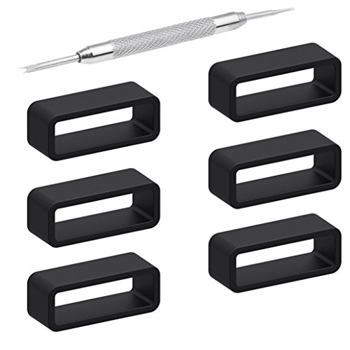 6Pieces Rubber Watch Band Strap Loops Black Clear Replacement Resin Holder Retainer 18mm 20mm 22mm with Spring Bar Tools (26mm, Black) (Black Resin Strap)