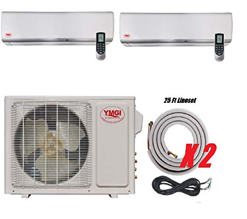 YMGI Dual Zone - 30000 BTU (12K +18K) 2.5 Ton Wall Mounted Ductless Mini Split Air Conditioner with Heat Pump for Home, Office, Apartment