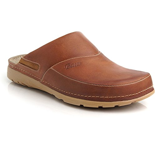 Leather Mens Clogs - BATZ Peter Leather Mens Slip-on Clogs Mules, Brown, 42 EU (9 M US Men)