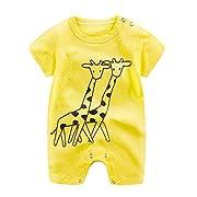 G-real Newborn Infant Baby Boys Girls Cartoon Bodysuit Short Sleeve Cotton Romper Jumpsuit For 0-24M (Yellow, 6-12M)