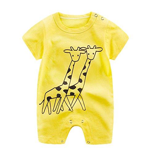 Sameno Infant Baby Boy Girl Cartoon Deer Romper Cute Jumpsuit Climbing Clothes (Pink, 18-24 Months) (Yellow, 12-18 Months)