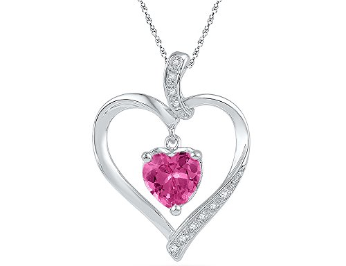 Lab Created Pink Sapphire 1.75 Carat (ctw) Heart Pendant Necklace in 10K White Gold with Accent Diamonds