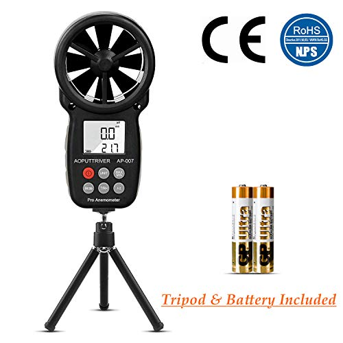 AOPUTTRIVER Digital Anemometer Handheld - MAX Up to 69mph,Wind Speed Meter Gauges for Measuring Air Flow,Temperature and Wind Chill with Backlit and Max/Min Data Record (Tripod Included)