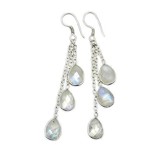 Sterling Silver Moonstone Chandelier Earrings