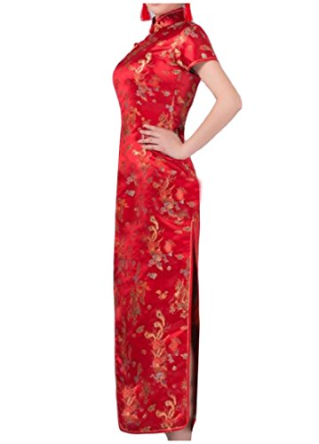 Confortables Femmes Satin Cru Imprimé Floral Fendu Robe Rouge Mince Cheongsam