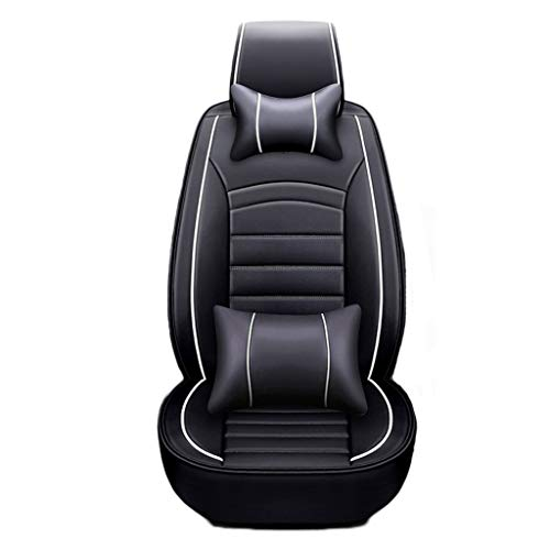 J'slife Car Cushion 5 Seats Comfort Version Includes 2 Neck Pillows 2 Pillows Cushion Artificial Leather All Inclusive Front and Rear Car Seats (color : Black White): Kitchen & Home