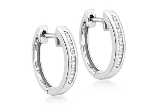 0,25ct or blanc 9carats de diamants Baguette Boucles d'oreilles créoles