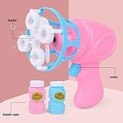 Shotbow Bubble Machine for Kids, Funny Automatic Bubble Blower Fan Electric Bubble Machine for Outdoor Indoor Use, Bubble Maker for Toddlers Game, Outdoor Indoor Activities Parties, Wedding (Pink): Home Improvement