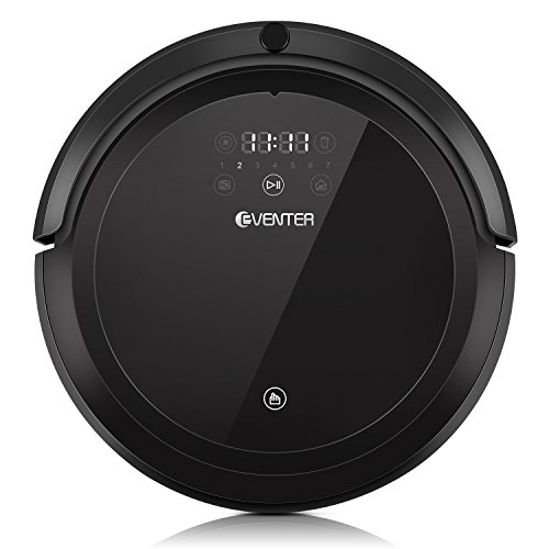 EVENTER Vacuum Cleaning Robot Powerful Suction, UV Sterilize Per Hair Cleaner and Floor Sweeper for Low Hard Carpet Floors (Black) ()
