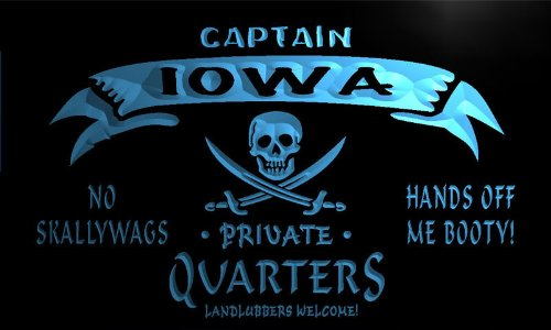 pw2015-b Iowa Captain Private Quarters Skull Bar Beer Neon Light Sign - Iowa Neon Sign
