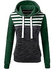 JPVDPA Jackets for Teen Girls, Women's Striped Hoodie Patchwork Hooded Sweatshirt Long Sleeve Zip Up Hoodie for Women