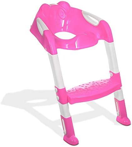 livivo® Bebé Niños Orinal Formación Aseo escalera asiento Medidas auxiliar orinal para niños niño de inodoro rosa rosa: Amazon.es: Bebé