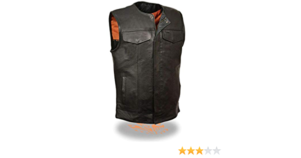 Milwaukee Leather MLM3513-DSGRY-2X Mens Open Neck Snap//Zip Front Club Style Vest Distressed Grey XX-Large
