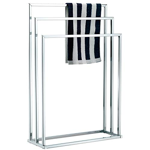 MyGift Freestanding Towel Rack, 3 Tier Metal Towel Bar Stand, Silver-Tone Chrome Plated ()